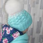 Шапки вязаные узор коса с тенью